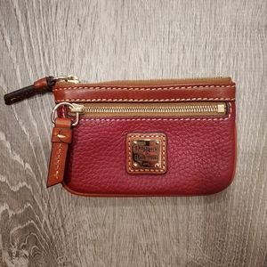 Dooney & Bourke Red Pebble Grain Small Coin Wallet